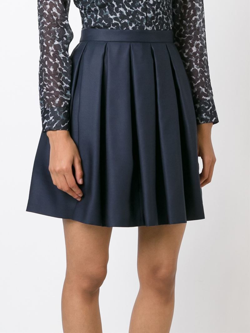 burberry pleated a line skirt in blue lyst