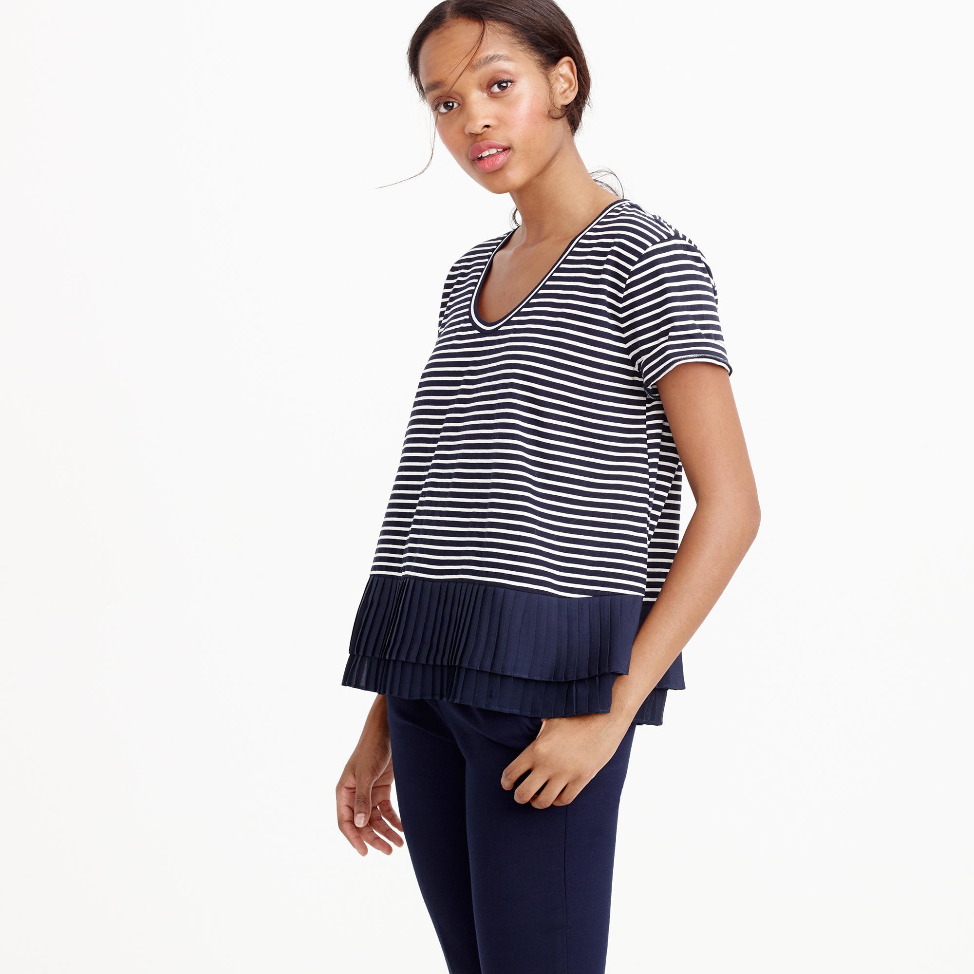 ef18a3a3 J.Crew Pleated Chiffon-hem Striped T-shirt in Blue - Lyst