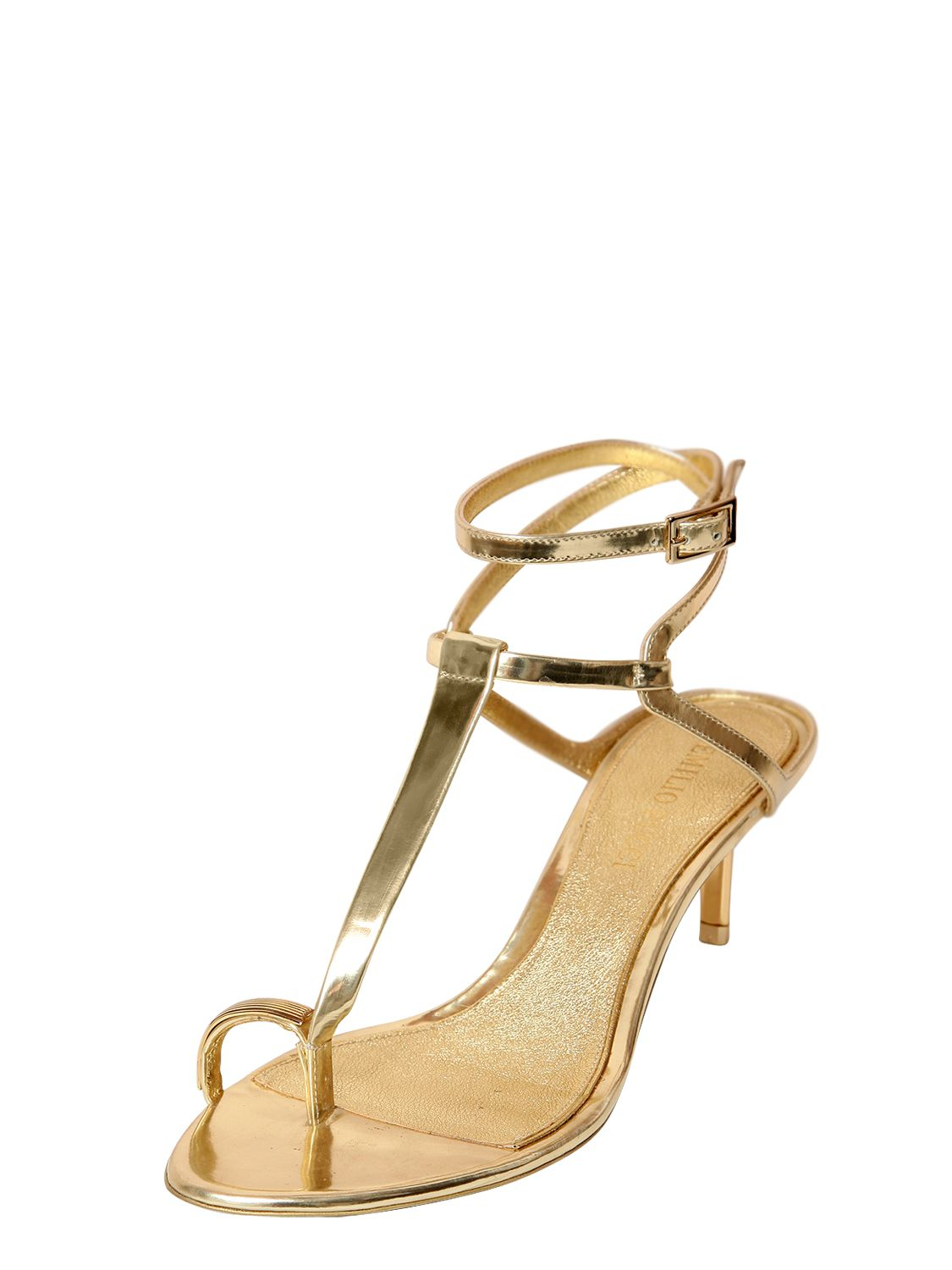 Lyst Emilio Pucci 55mm Mirrored Leather Sandals In Metallic