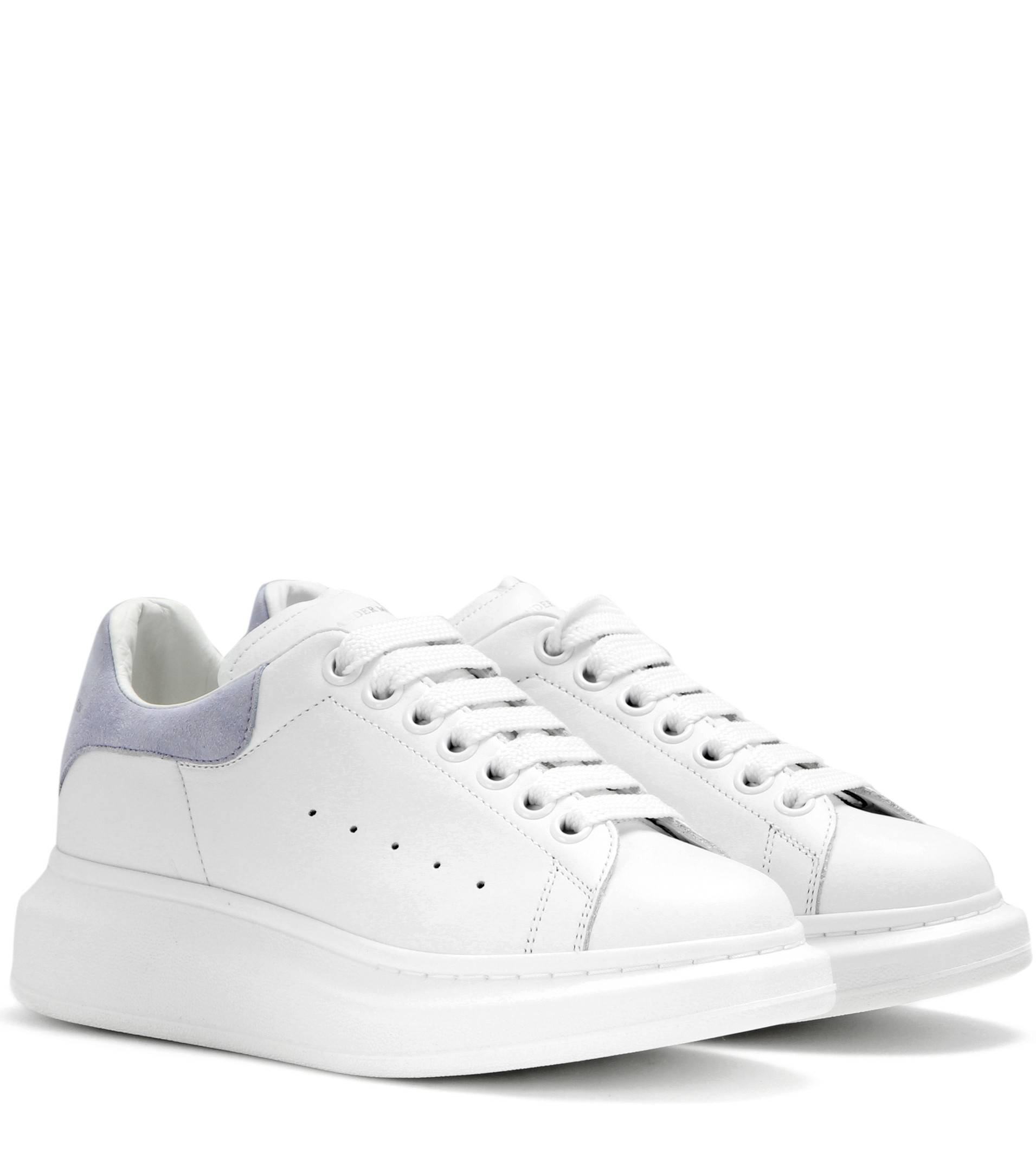 lyst alexander mcqueen leather and suede sneakers in white. Black Bedroom Furniture Sets. Home Design Ideas
