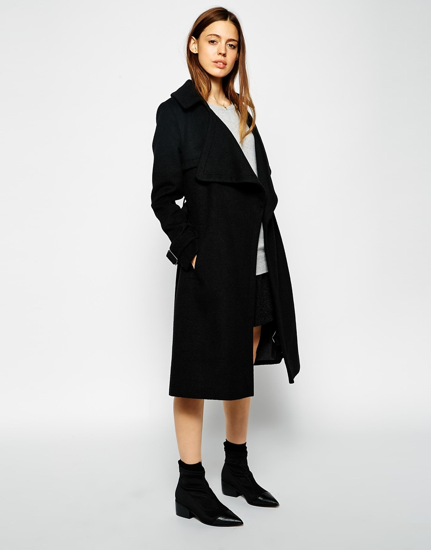 Asos Coat With Waterfall Front In Brushed Wool in Black | Lyst