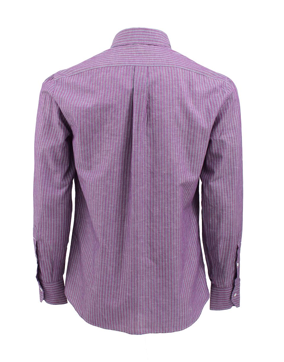Brunello cucinelli stripe button down shirt in purple for for Striped button down shirts for men