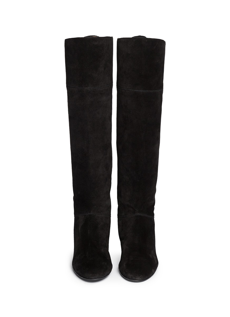 Lanvin Leather Tassel Suede Knee High Wedge Boots in Black