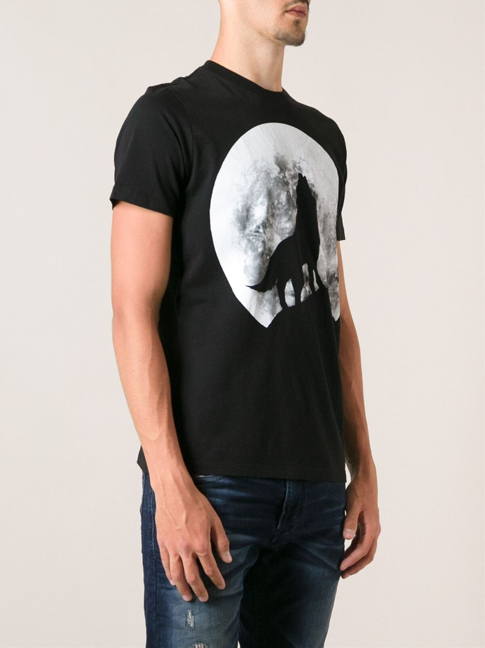 diesel twolf tshirt in black for men lyst. Black Bedroom Furniture Sets. Home Design Ideas