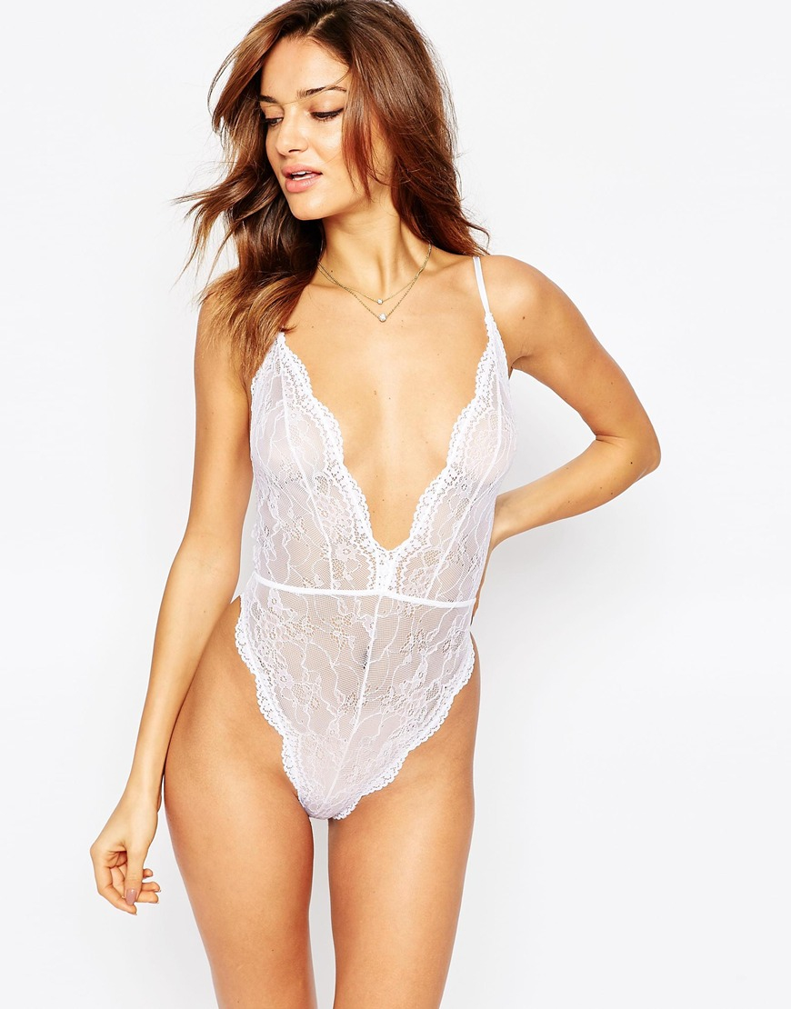 9865c5da83 Lyst - ASOS Bobbi Lace Up Back Body in White