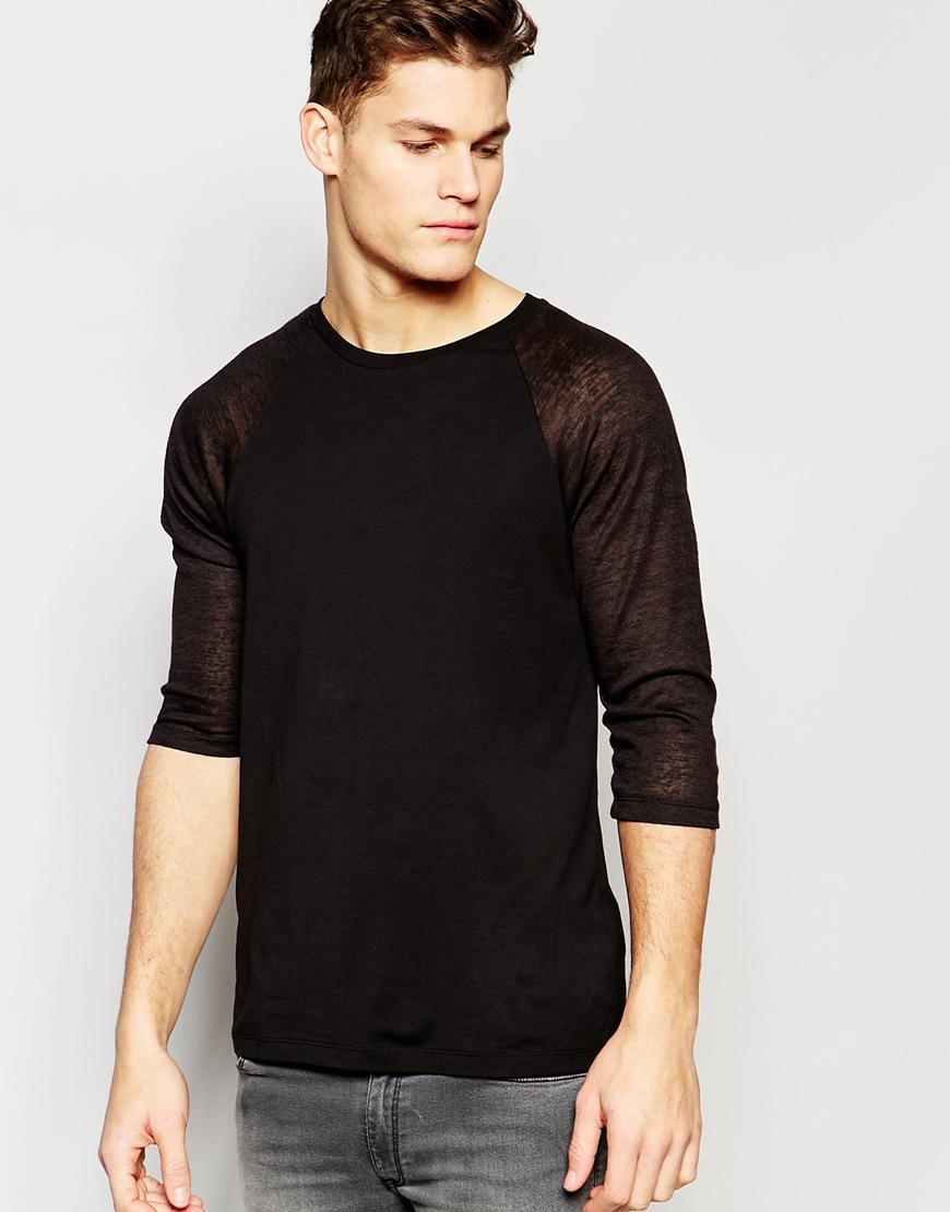 Asos long sleeve t shirt with sheer slub contast raglan for Mesh long sleeve t shirt