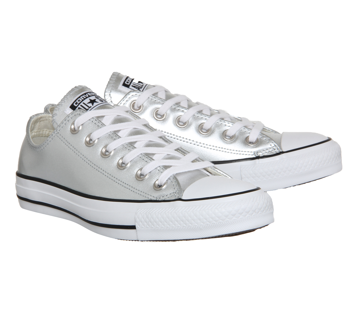 Converse all star low leather in gray for men silver lyst - Graue converse ...