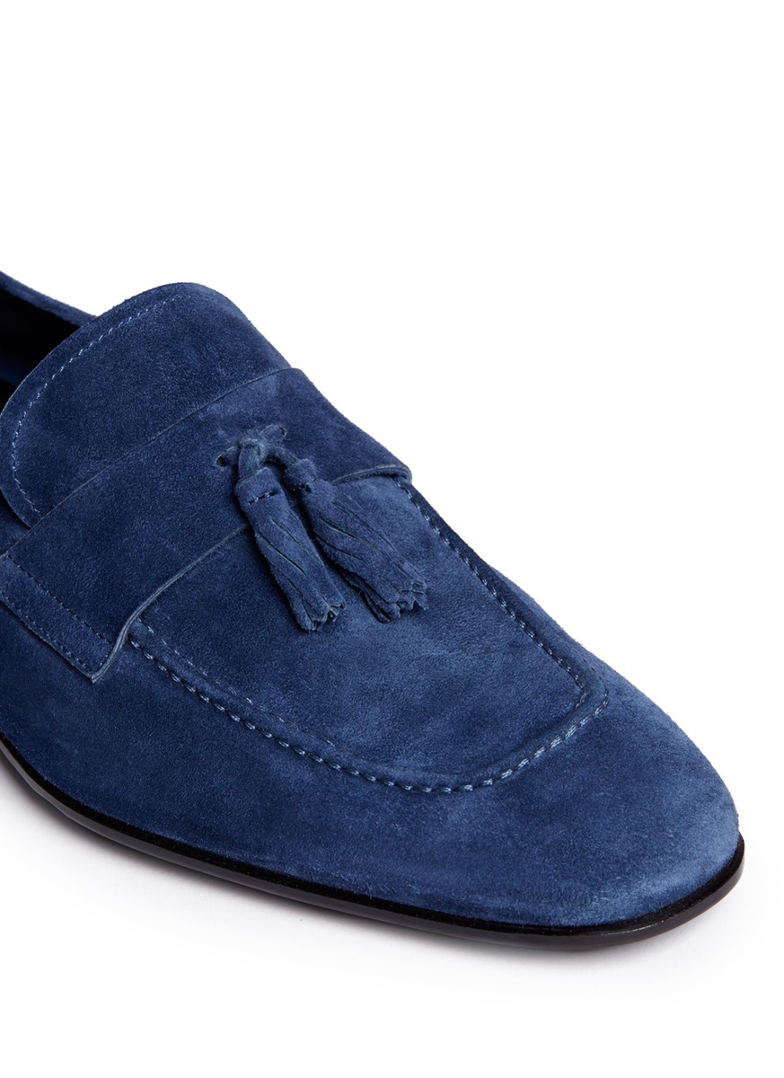 5a0debbacb23a Giorgio Armani Suede Tassel Loafers in Blue for Men - Lyst