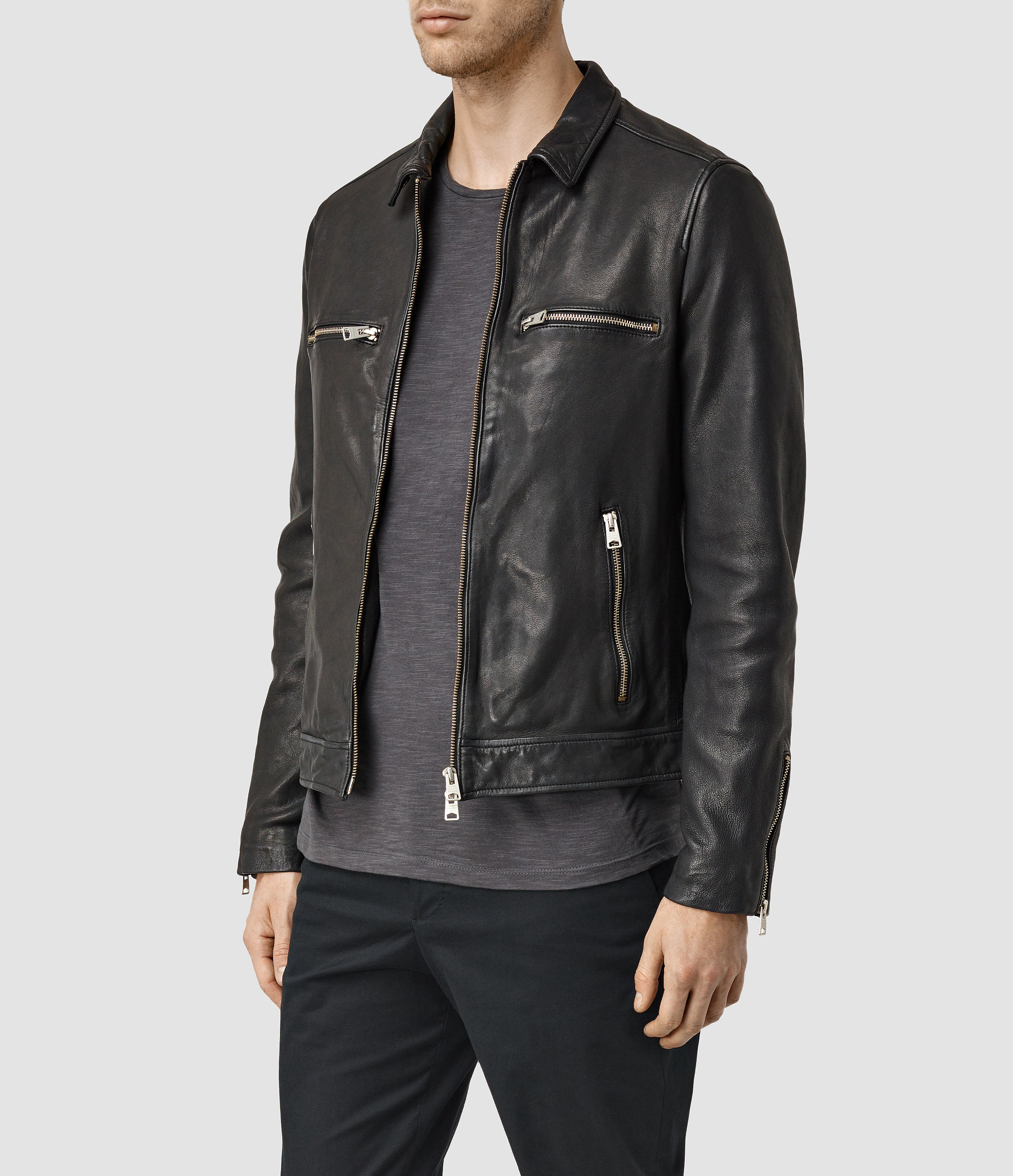 AllSaints Austell Leather Jacket Usa Usa in Black for Men