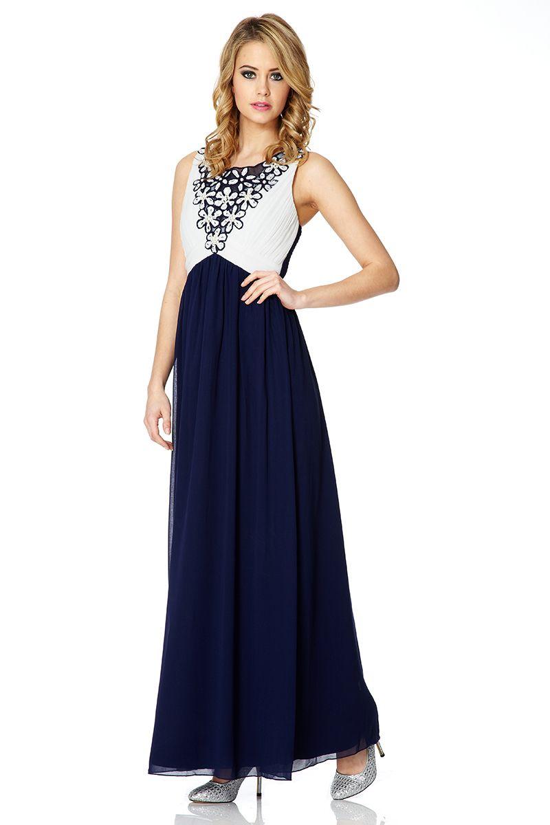 Quiz chiffon embellished maxi dress in blue lyst Fashion designer style quiz