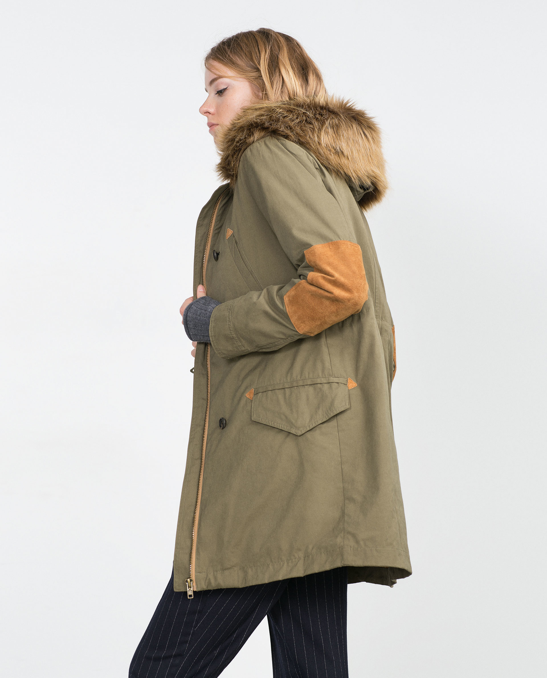 Zara Parka With Faux Fur Hood In Natural Lyst