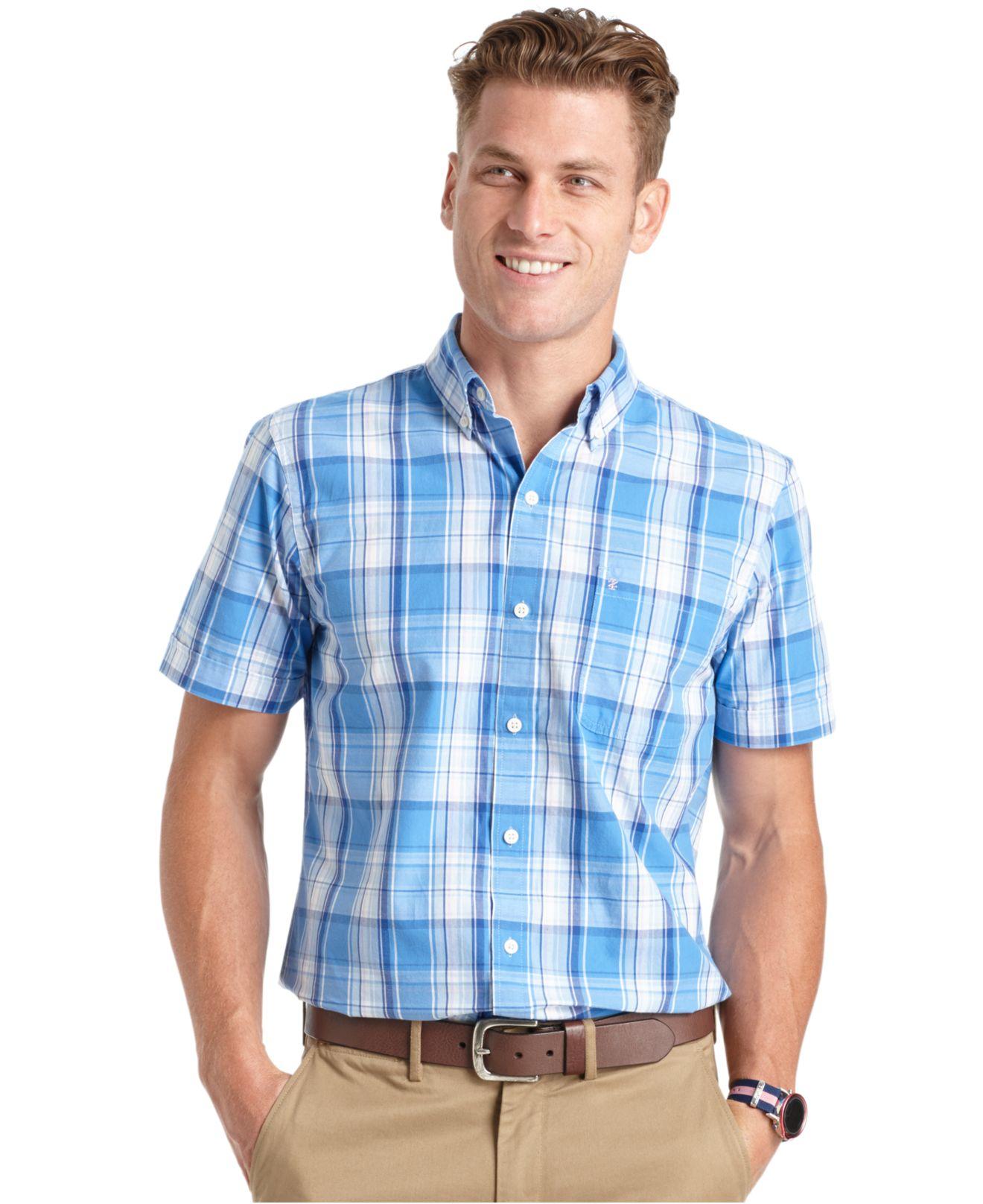 Lyst izod big and tall large plaid short sleeve shirt in for Izod big and tall shirts