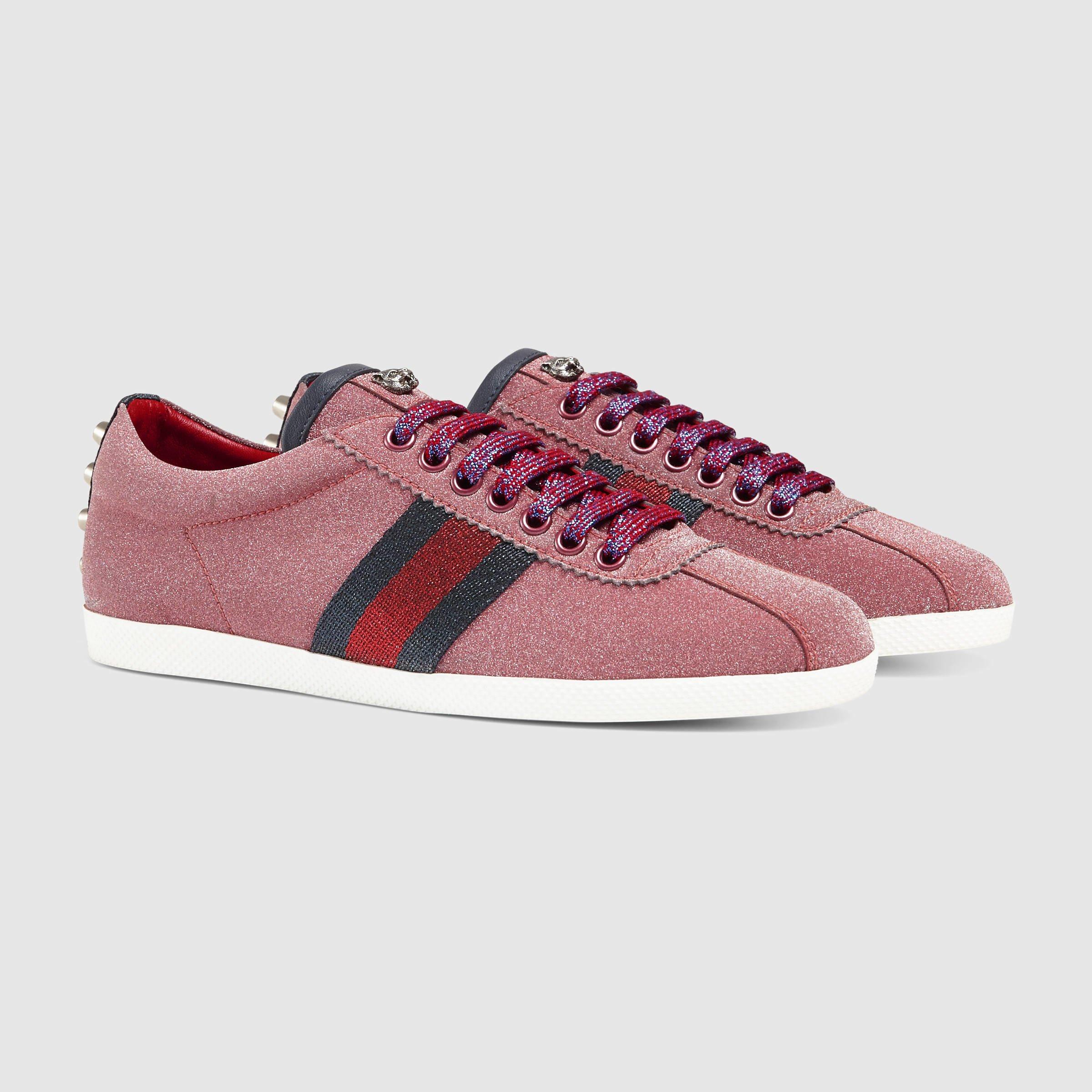Lyst - Gucci Glitter Web Sneaker in Red