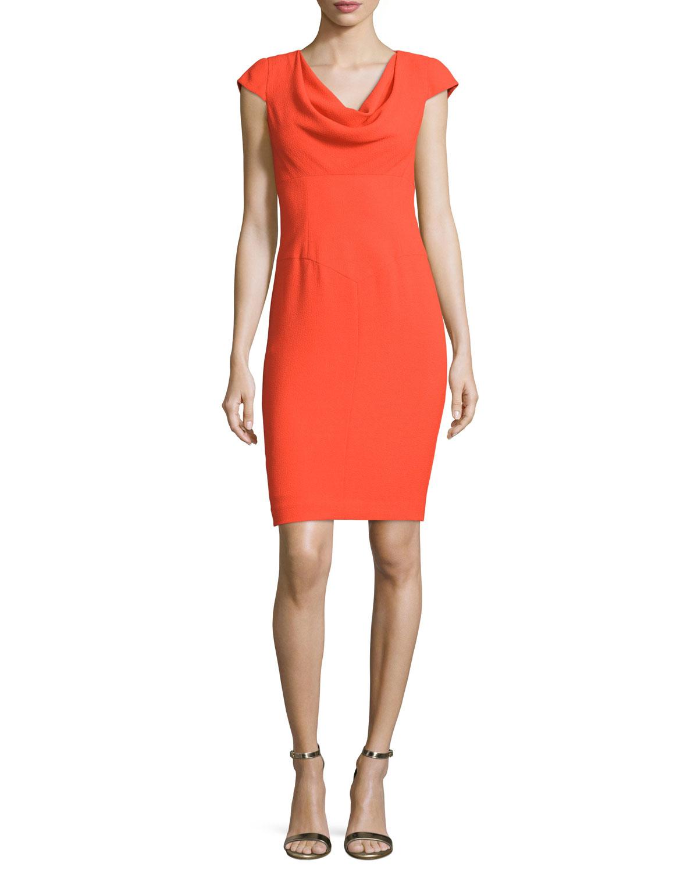 Cowl Neck Sheath Dresses: Black Halo Cowl-neck Cap-sleeve Sheath Dress In Orange