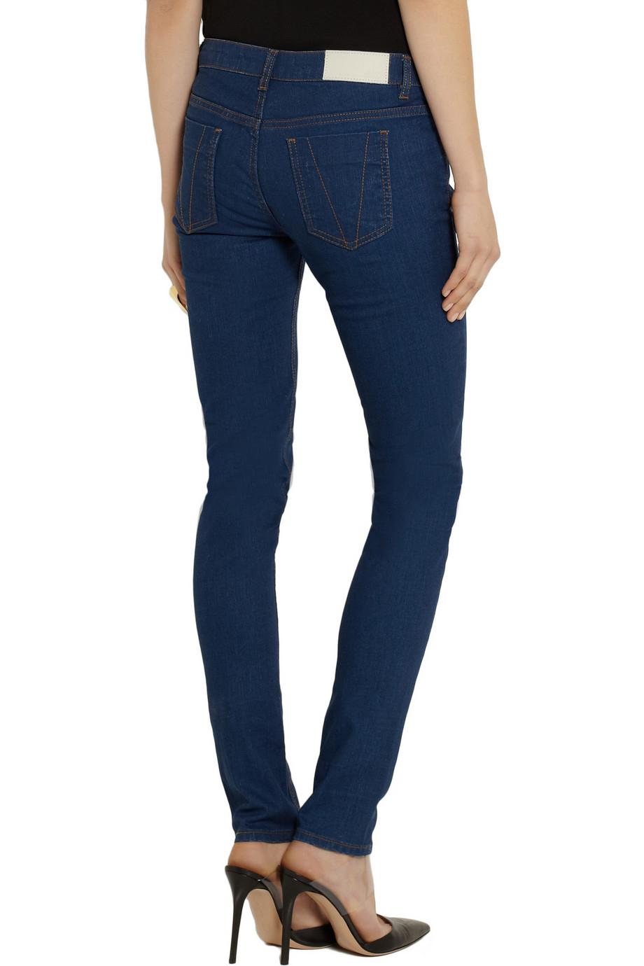 victoria beckham vb1 superskinny mid rise jeans in blue lyst. Black Bedroom Furniture Sets. Home Design Ideas