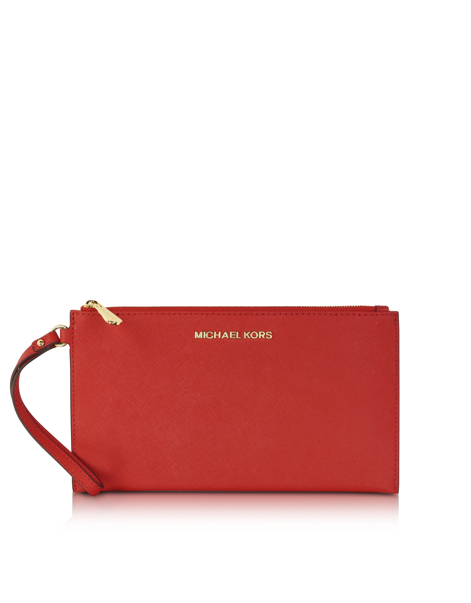 Michael Kors Large Jet Set Travel Zip Clutch In Red Lyst