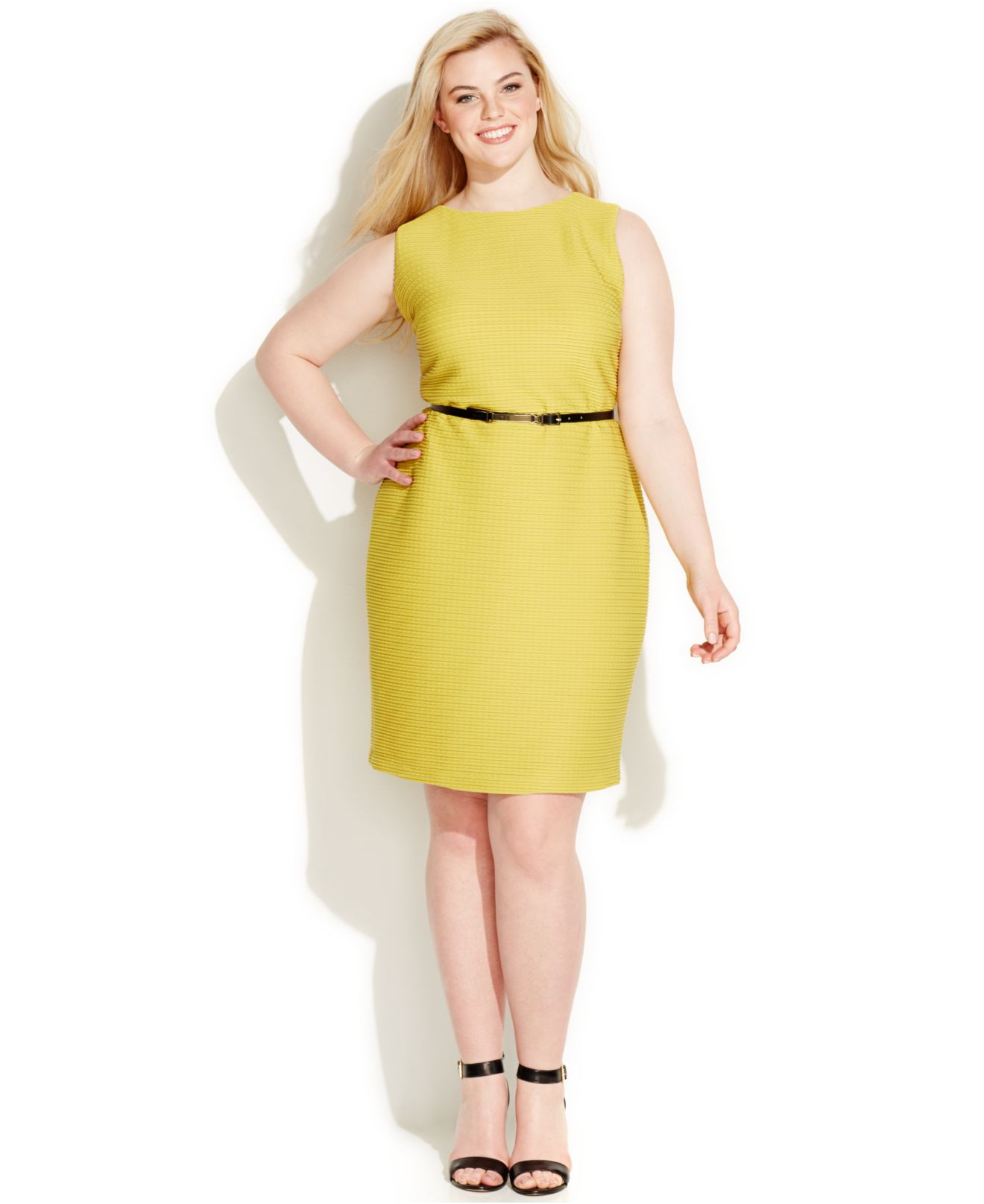 Plus Size Textured-knit Belted Sheath Dress