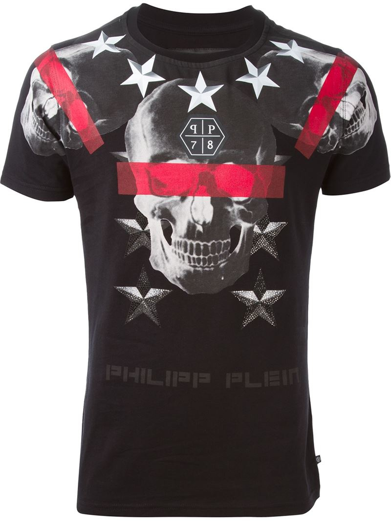philipp plein 39 cryptic 39 t shirt in black for men lyst. Black Bedroom Furniture Sets. Home Design Ideas