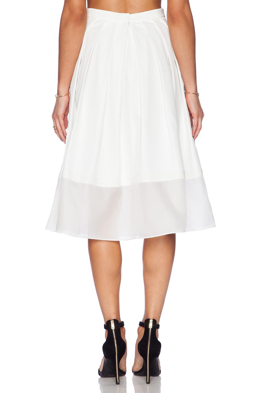 tibi techno faille pleated skirt in white ivory lyst