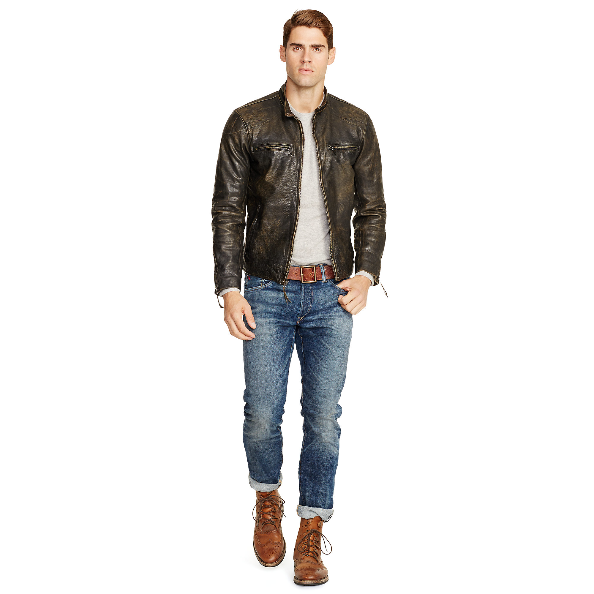 men cafe the jacket product wakefield for ralph polo lauren black bomber normal in flash quilted quilt caf lyst mens racer board leather