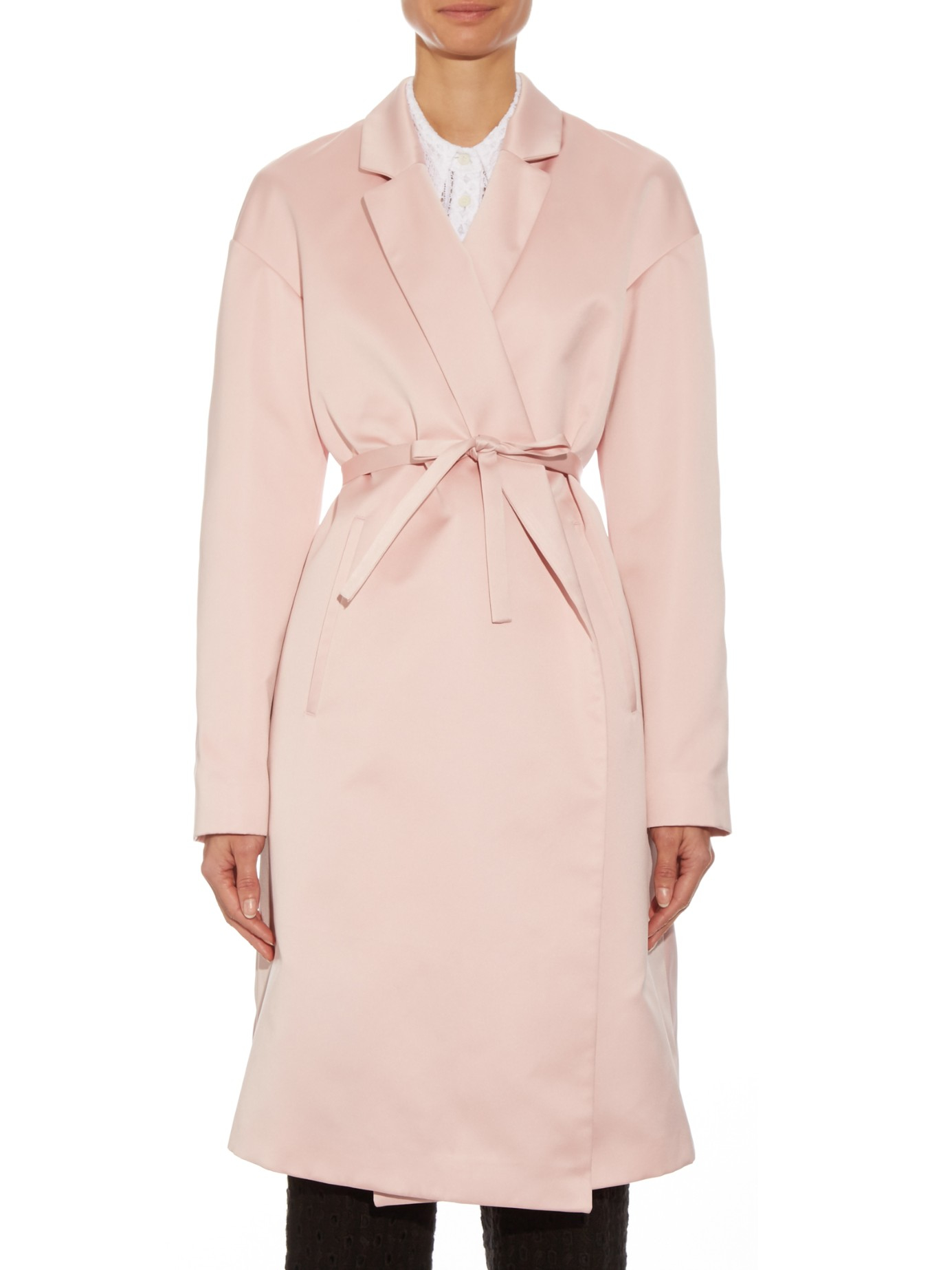Rochas Self-tie Waist Duchess-satin Coat in Pink   Lyst