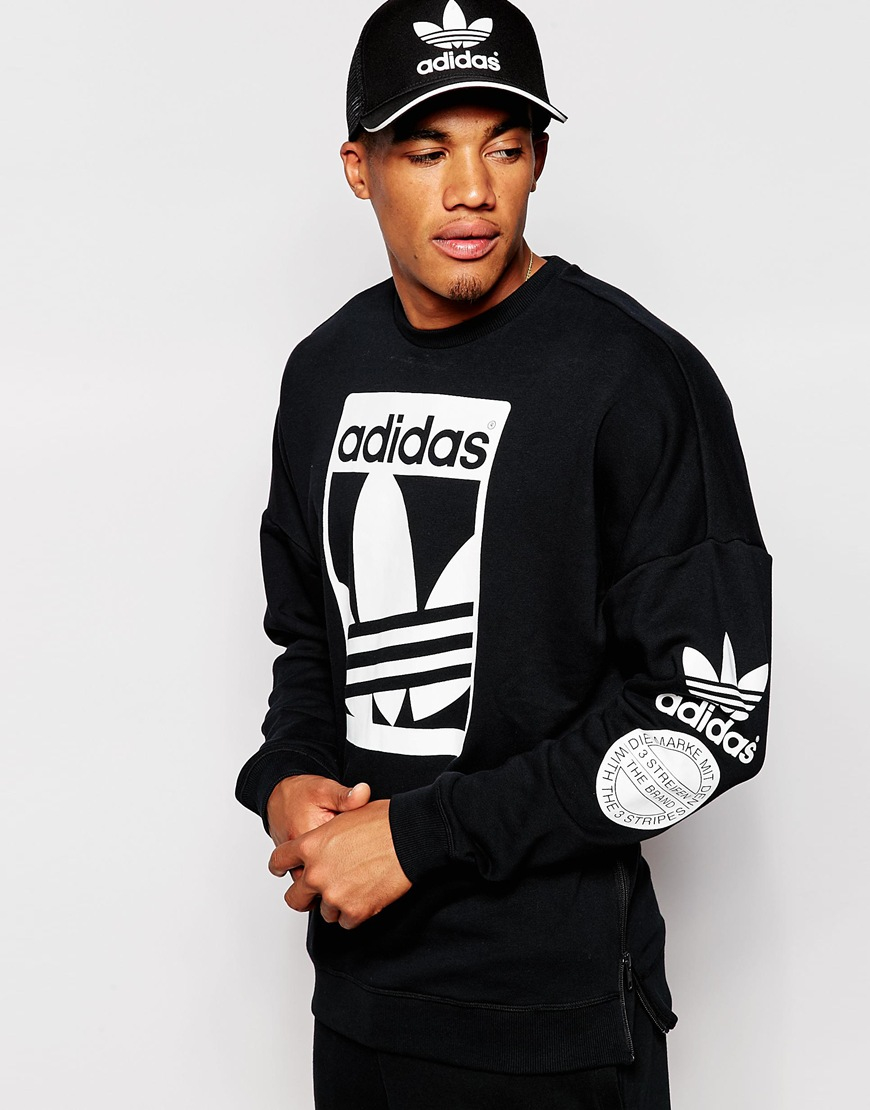 adidas originals graphics sweatshirt ab8028 in black for men lyst. Black Bedroom Furniture Sets. Home Design Ideas