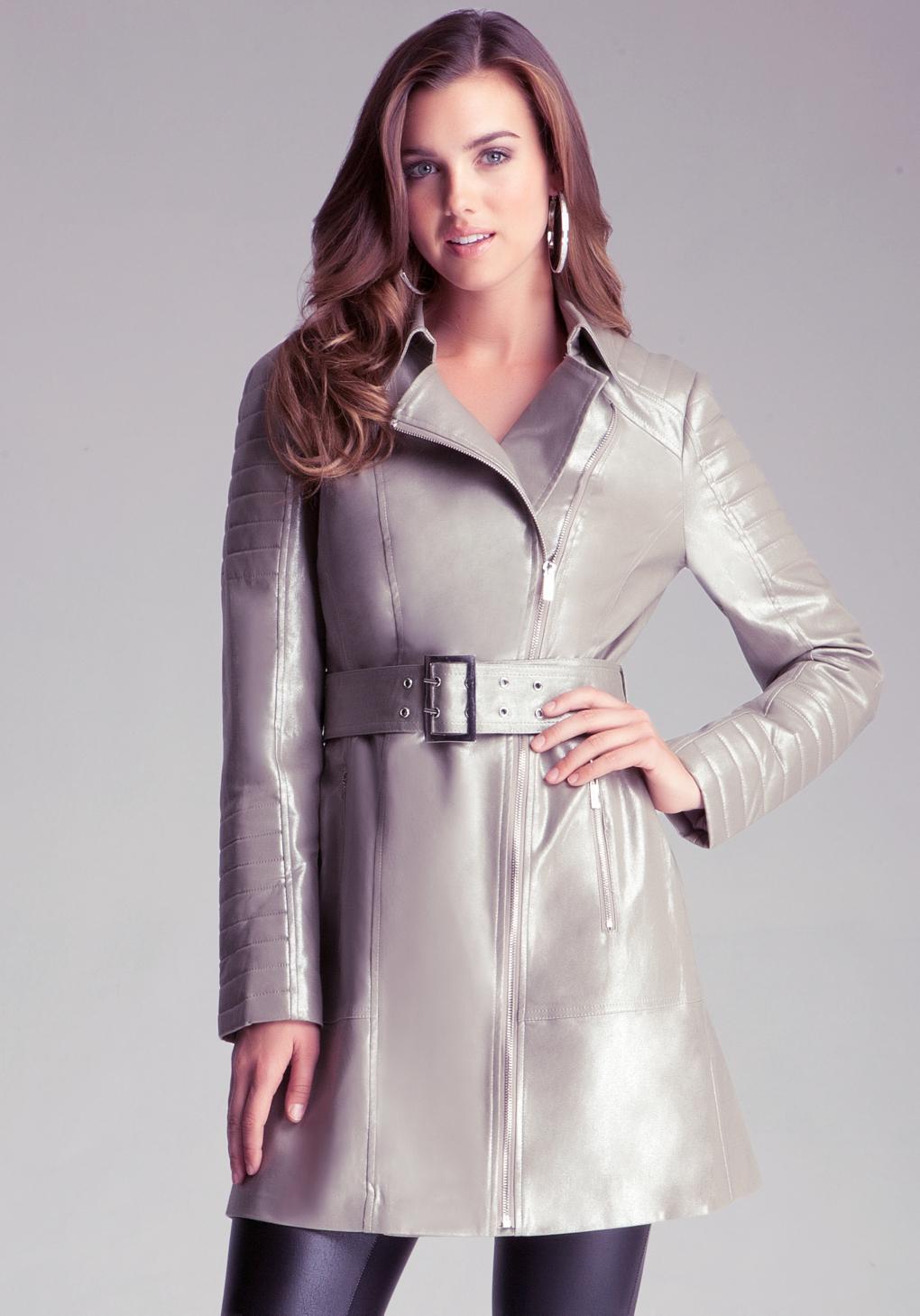 Bebe Silver Trench Coat In Metallic Lyst