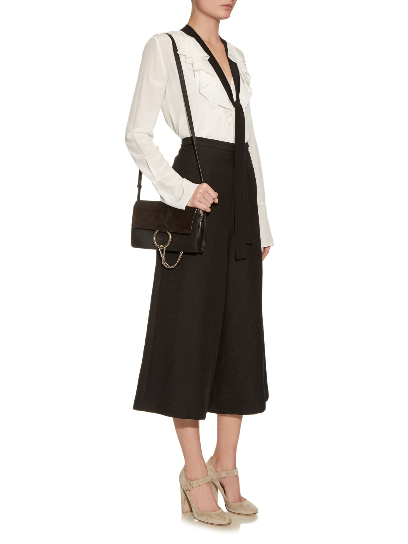 b524c37899d29 Chloé Faye Small Leather And Suede Cross-body Bag in Black - Lyst