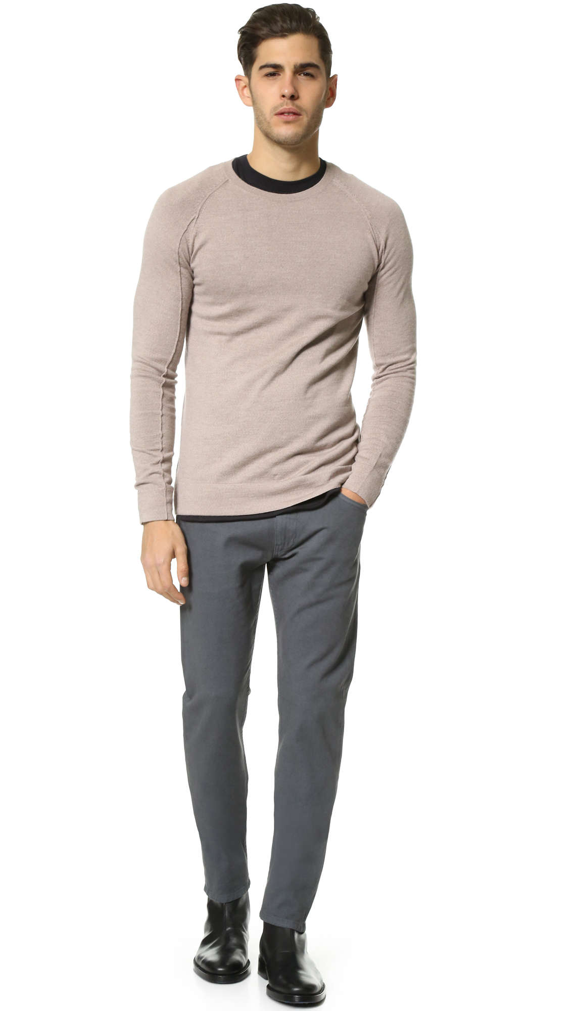 00f30c174e Lyst - Helmut Lang Fine Wool Crew Neck Sweater in Natural for Men