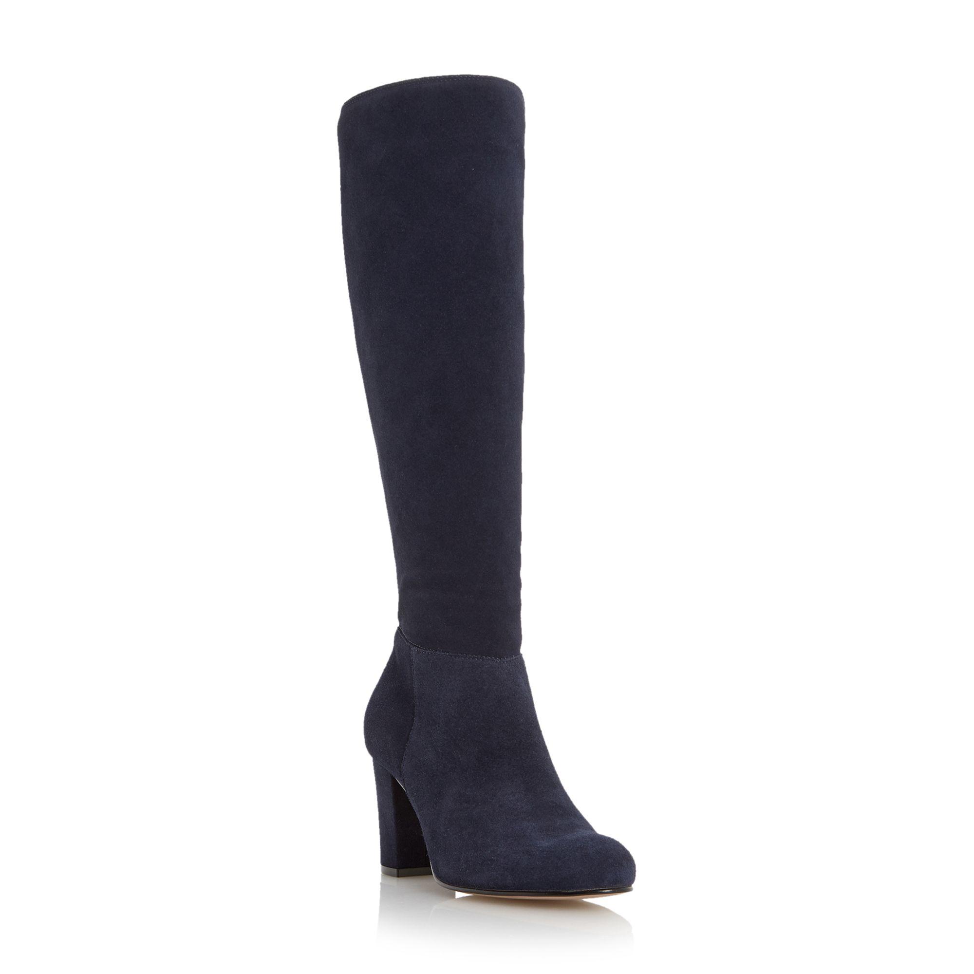 dune toulon knee high block heel suede boot in blue navy