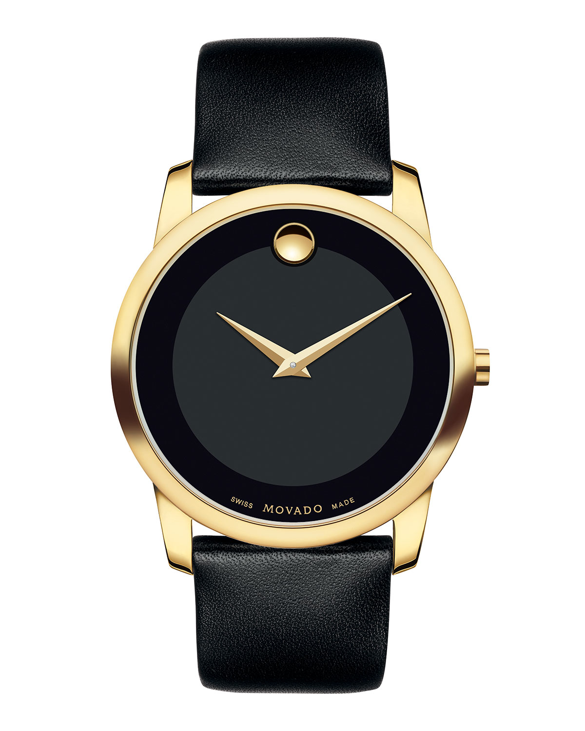 movado 40mm museum classic watch with leather strap in