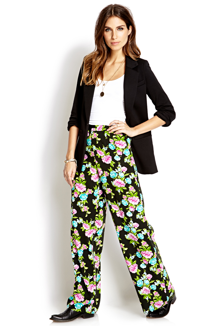 Forever 21 Vibrant Floral Wide-leg Pants | Lyst