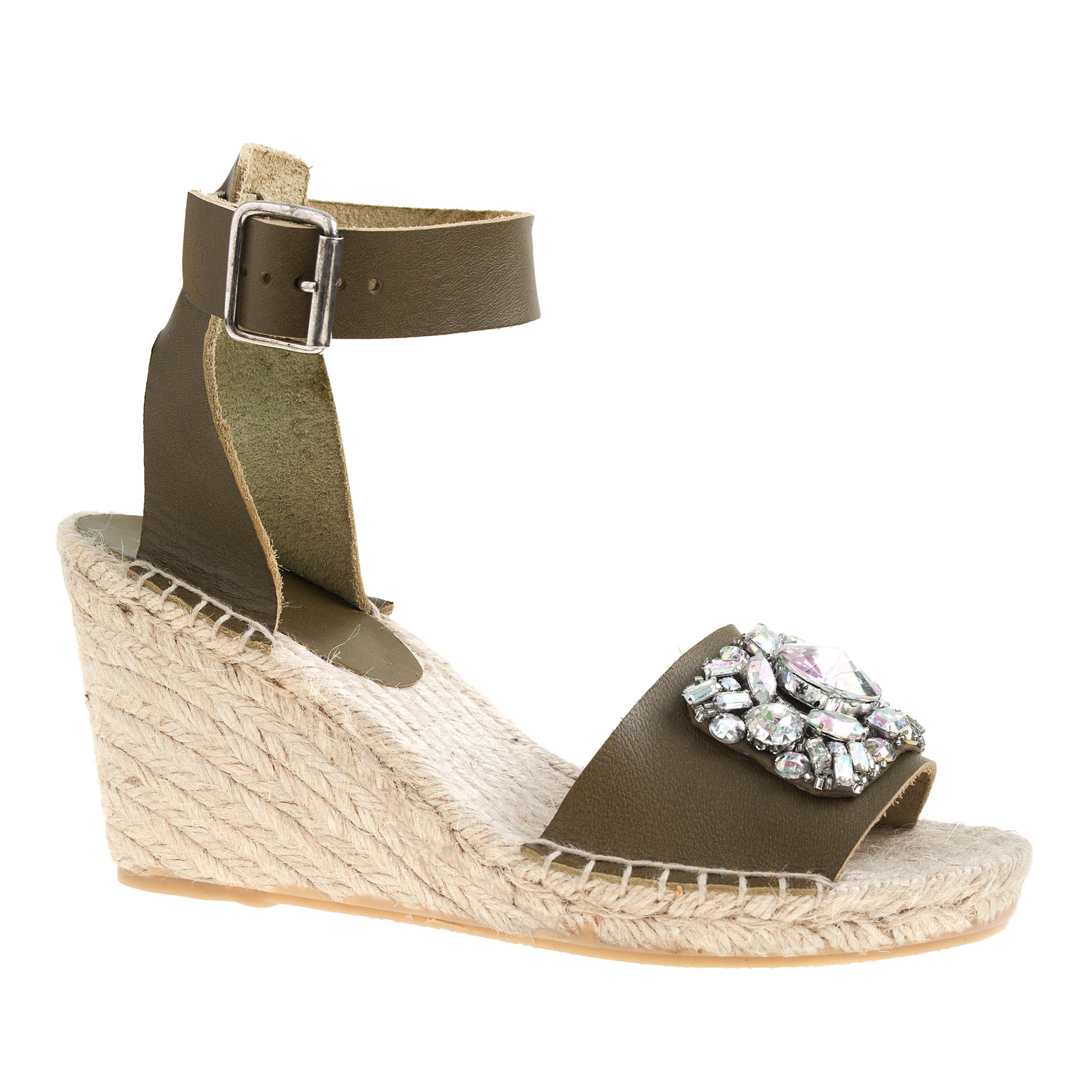 j crew corsica jeweled espadrille wedges in green lyst