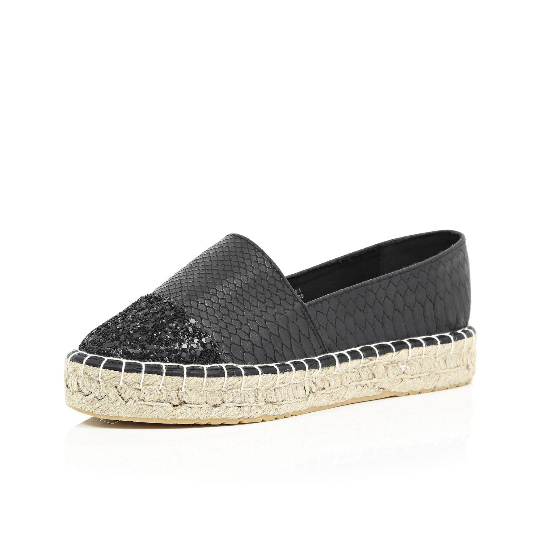 2140ddf4b71 River Island Black Glitter Toe Espadrilles - Lyst