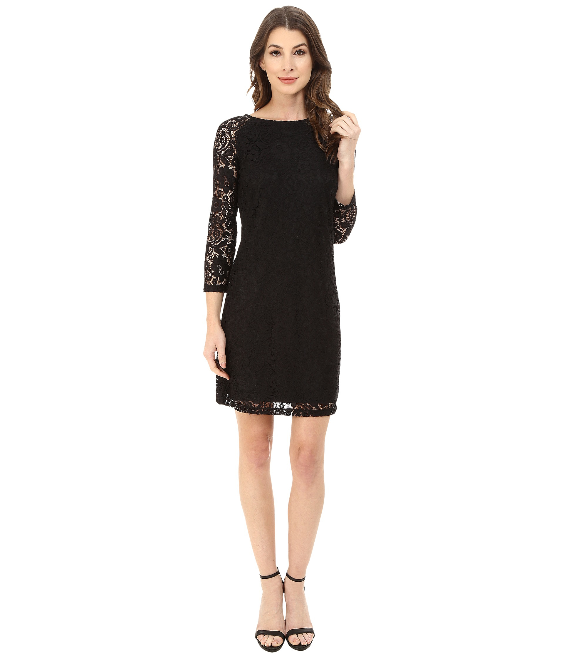 Black Lace Cocktail Dress With 34 Sleeves