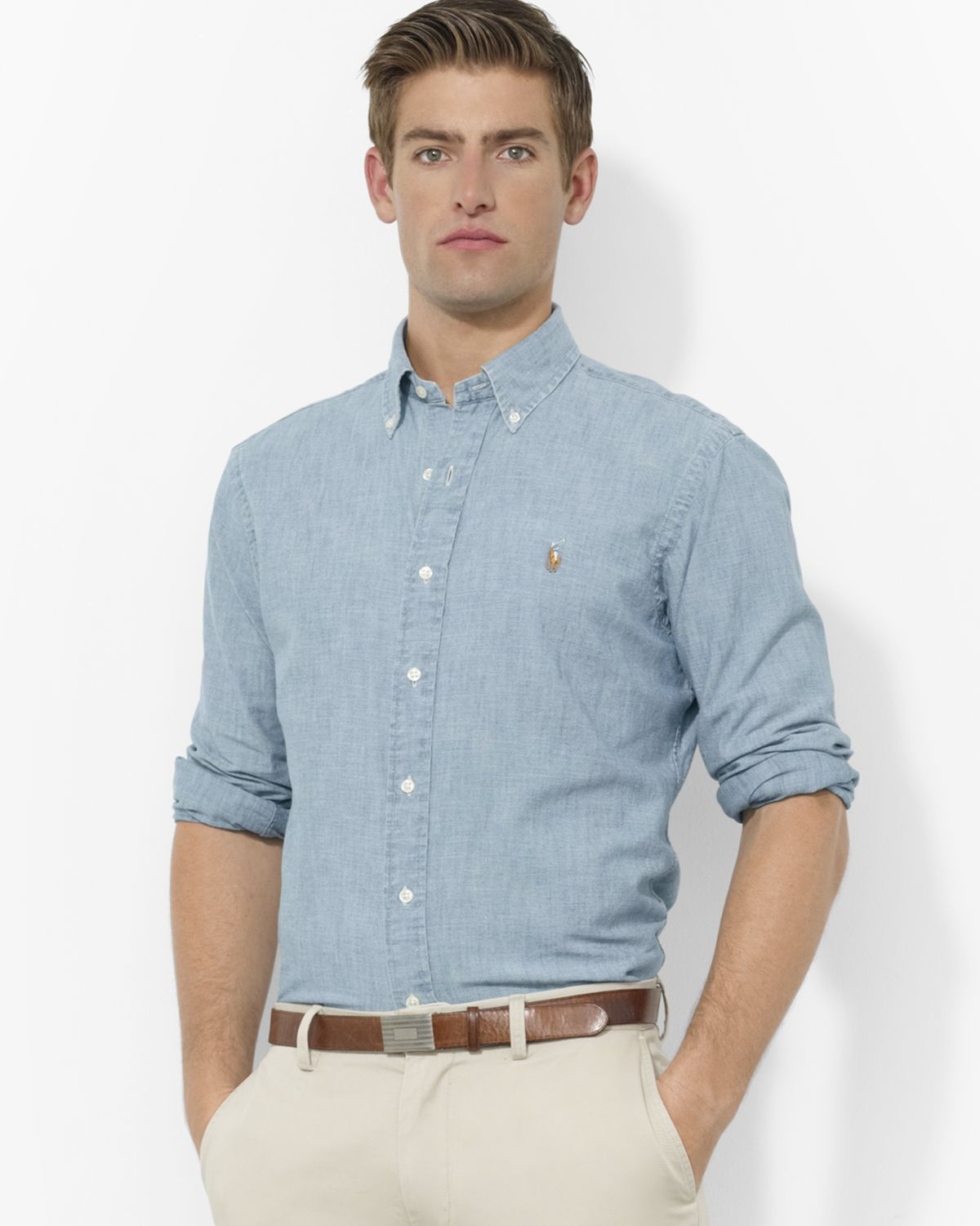 21004959d6 Gallery. Previously sold at  Bloomingdale s · Men s Chambray Shirts Men s Ralph  Lauren Classic ...