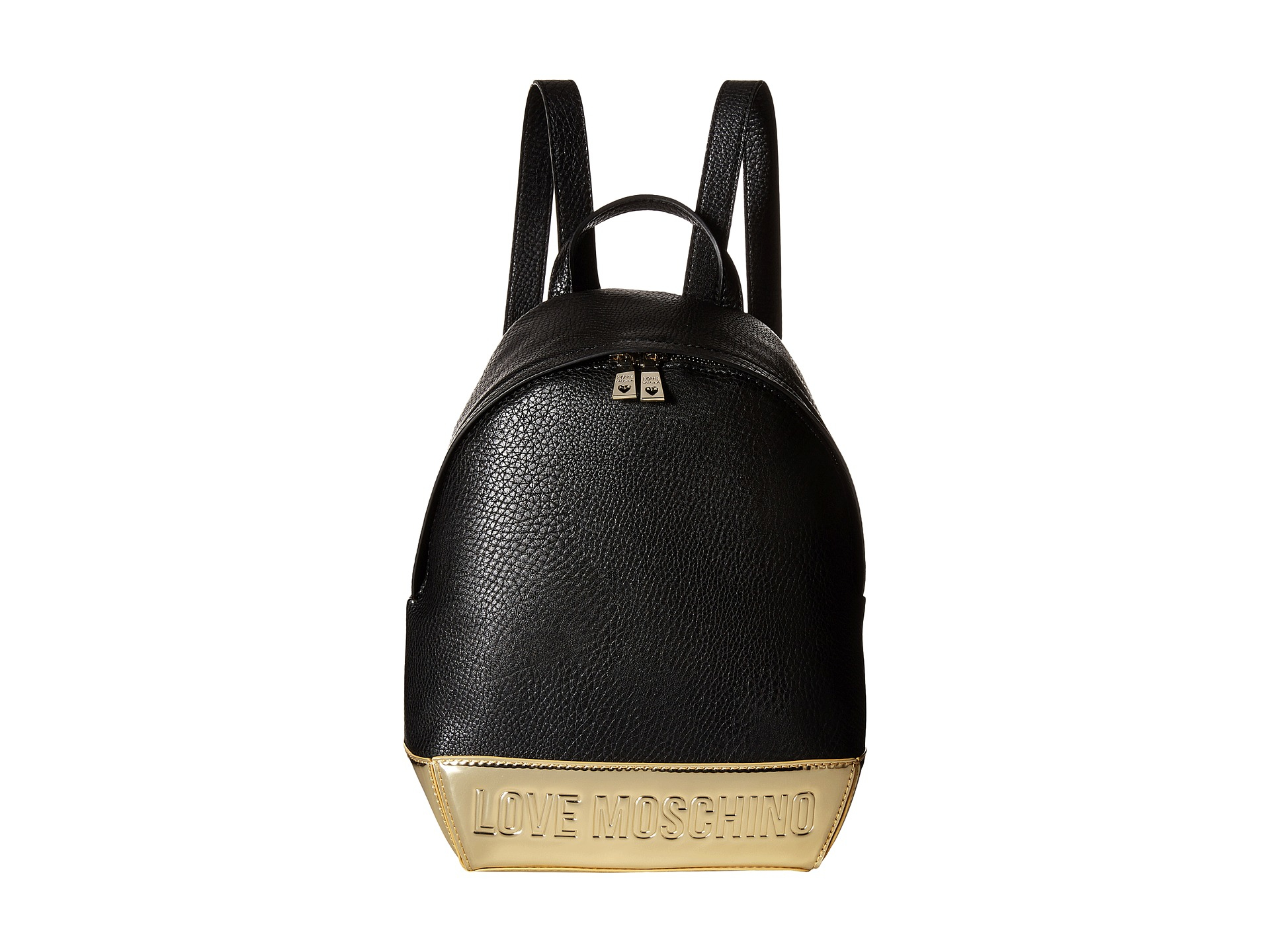 love moschino black and gold backpack in black lyst. Black Bedroom Furniture Sets. Home Design Ideas