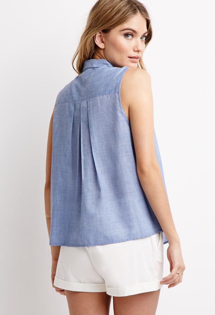 Forever 21 Linen Contemporary Pleated Smock Top in Blue - Lyst