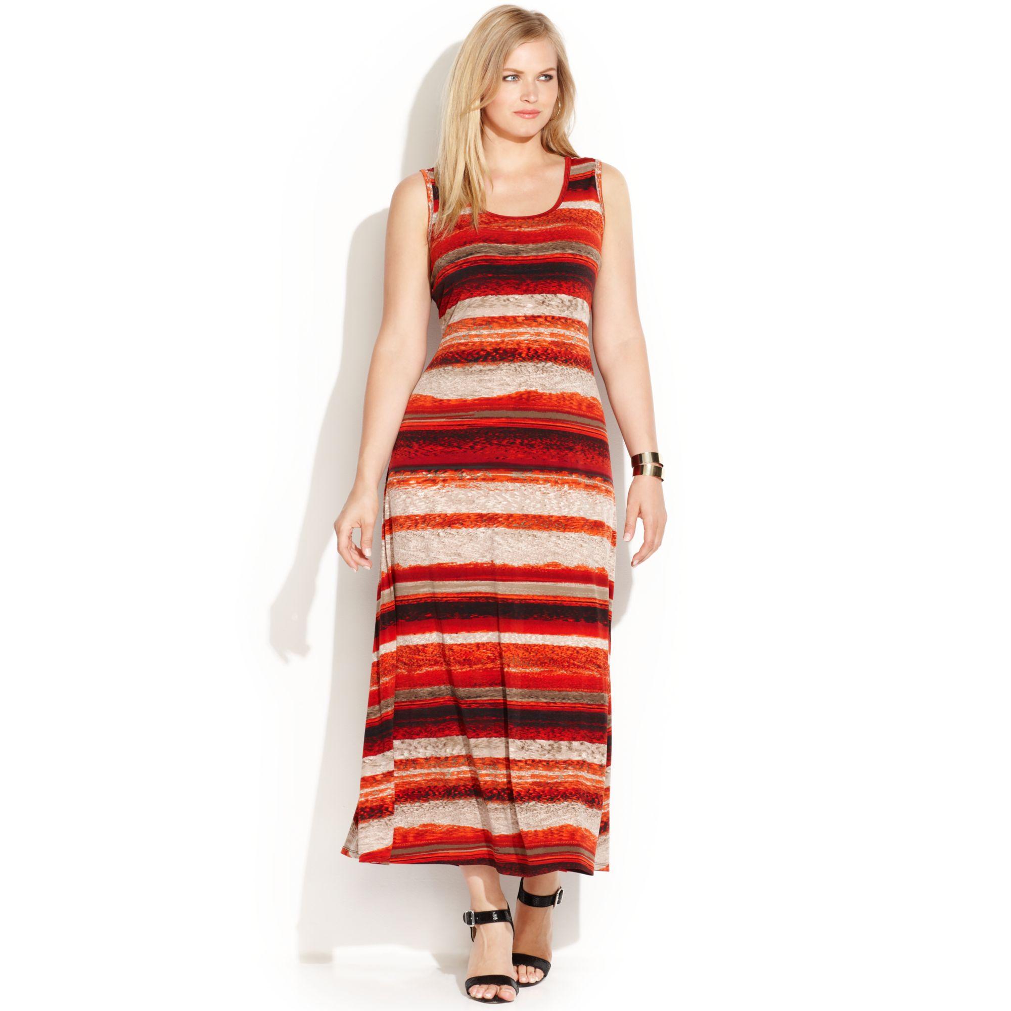 Calvin Klein Red Plus Size Sleeveless Striped Maxi Dress