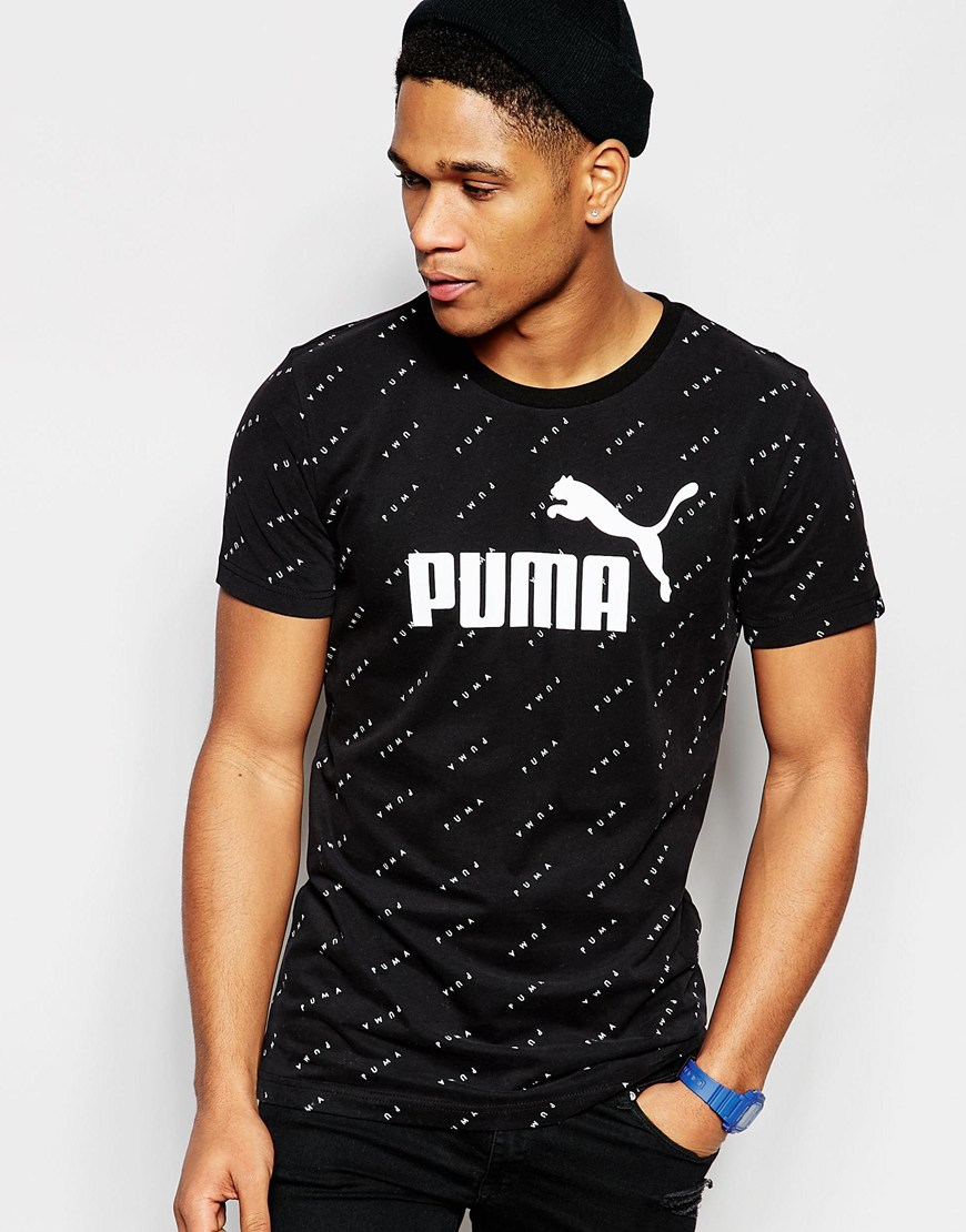 puma tshirt with all over print in black for men lyst