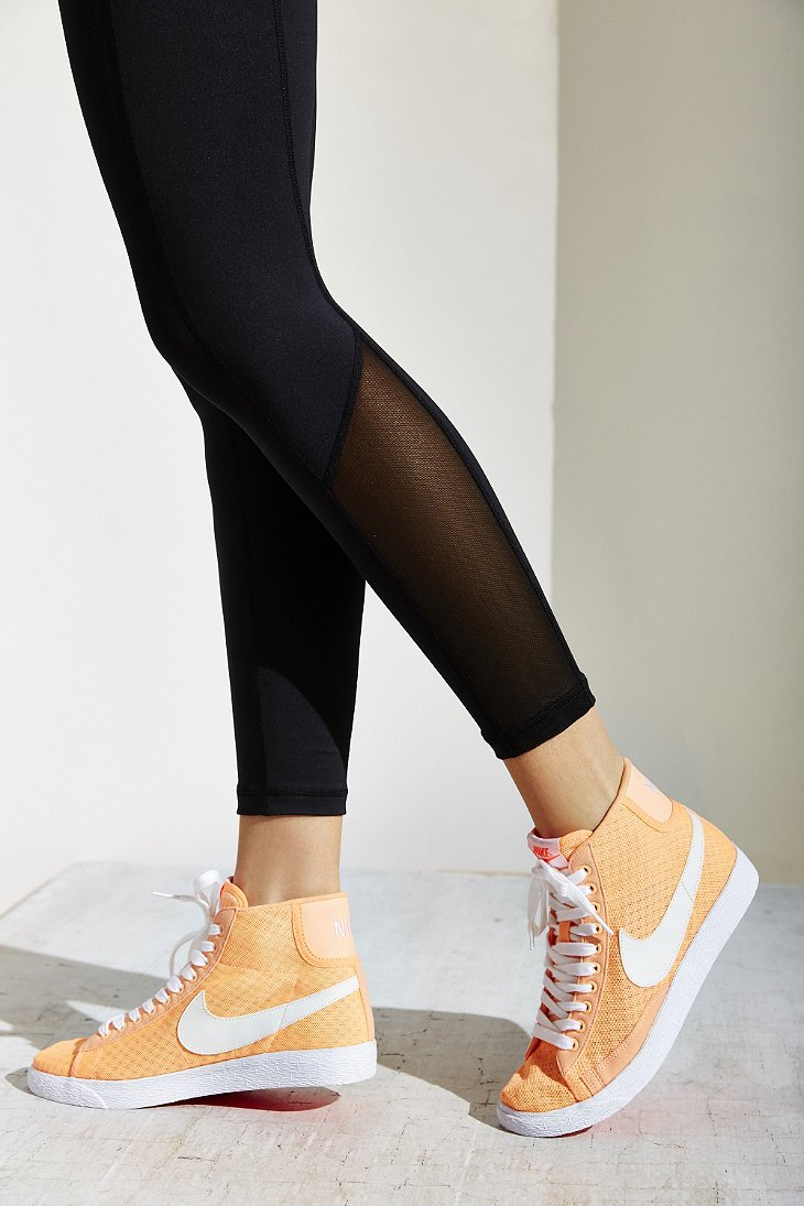 Lyst - Nike Blazer Mid Mesh High-top Sneaker in Orange 7aee3085f