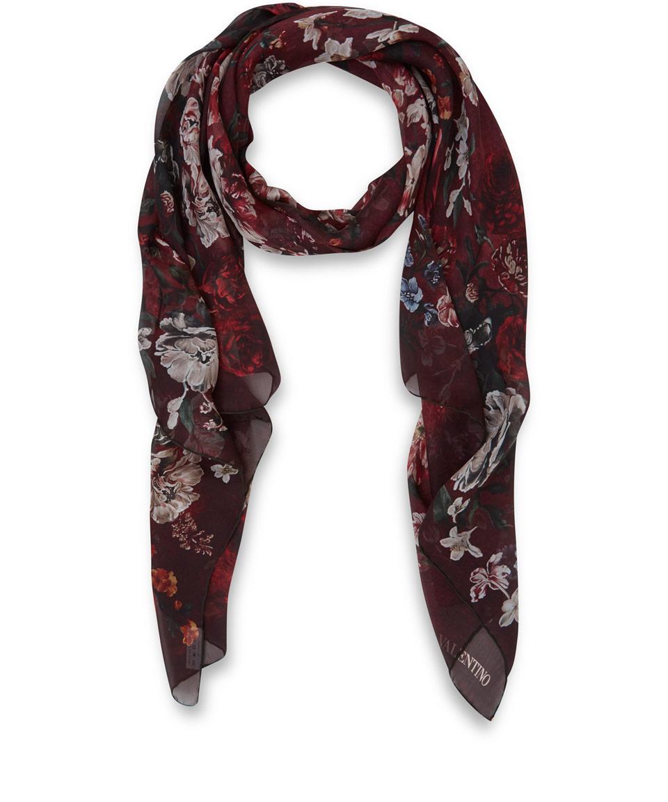 valentino burgundy flemish flower print silk scarf in
