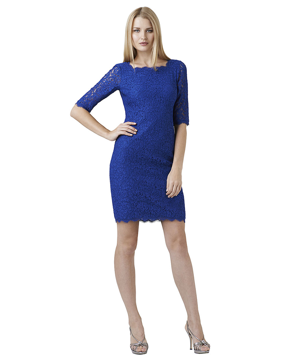adrianna papell petite lace cocktail dress in blue