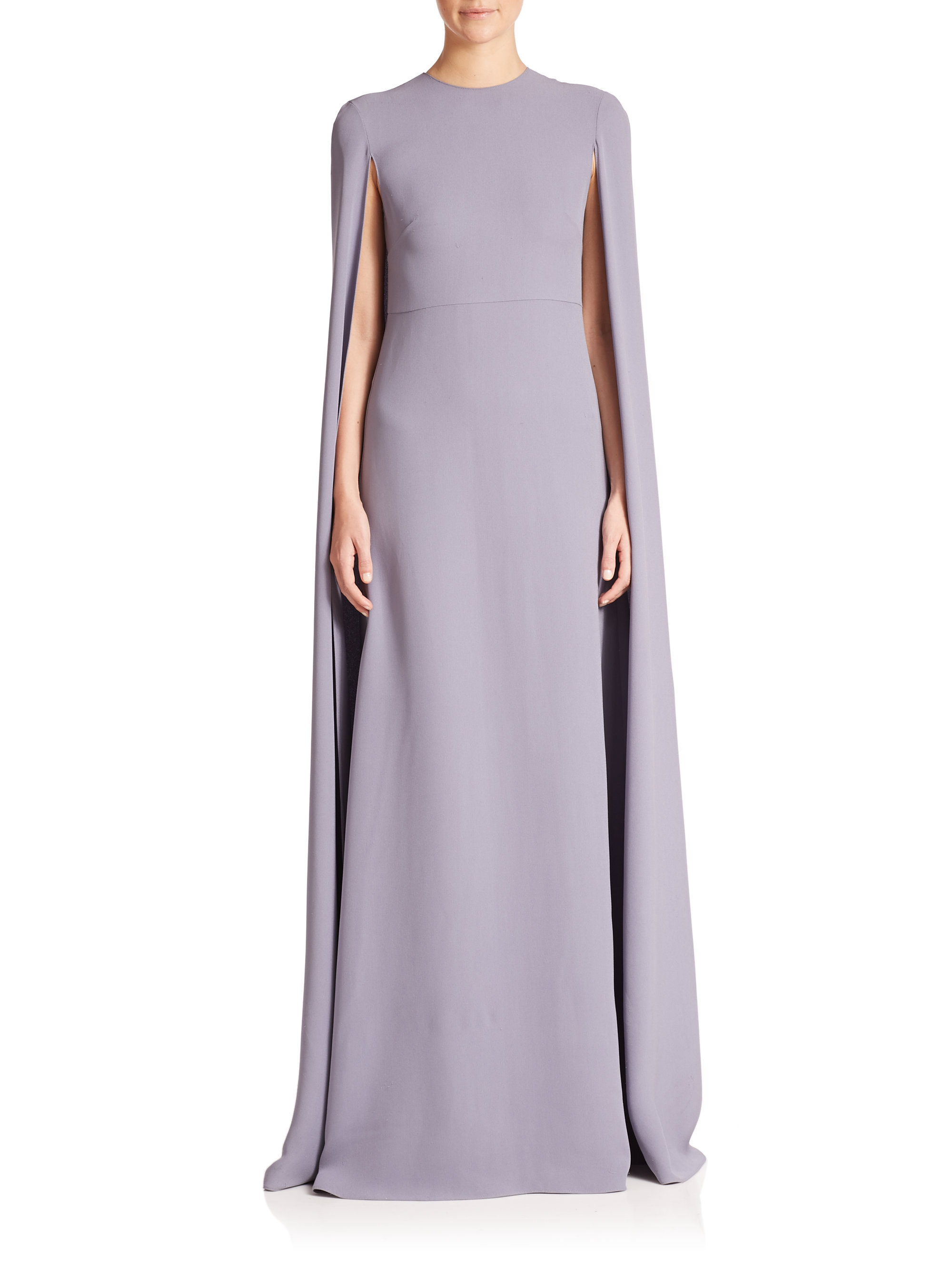 Lyst - Valentino Silk Cape Gown in Blue