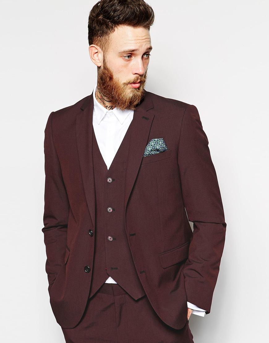 Asos Slim Fit Suit Jacket In Burgundy Pindot in Purple for Men | Lyst