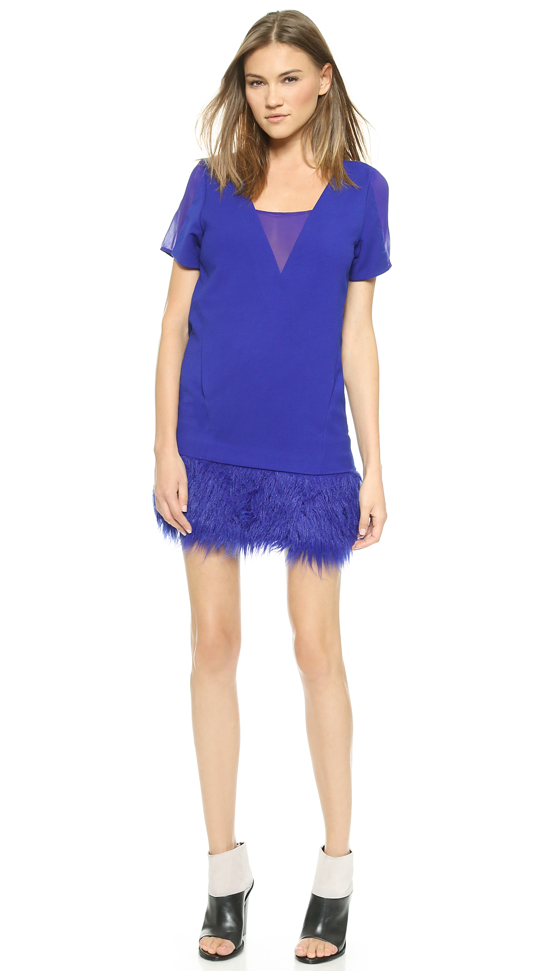 Three floor wild time dress klein blue in blue lyst for Three floor yellow dress