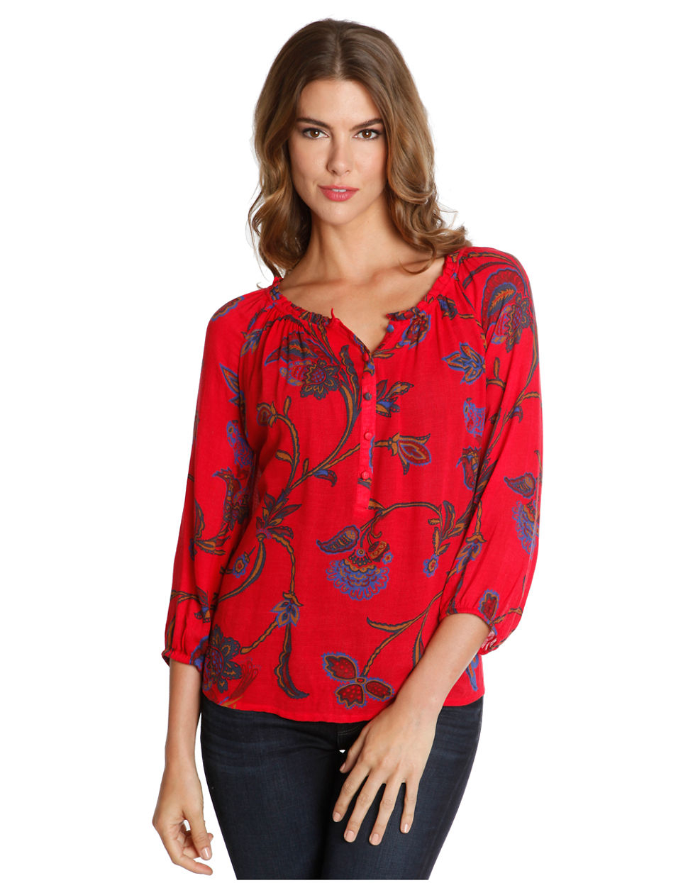 Lucky Brand Londynn Floral Print Peasant Top In Red Lyst
