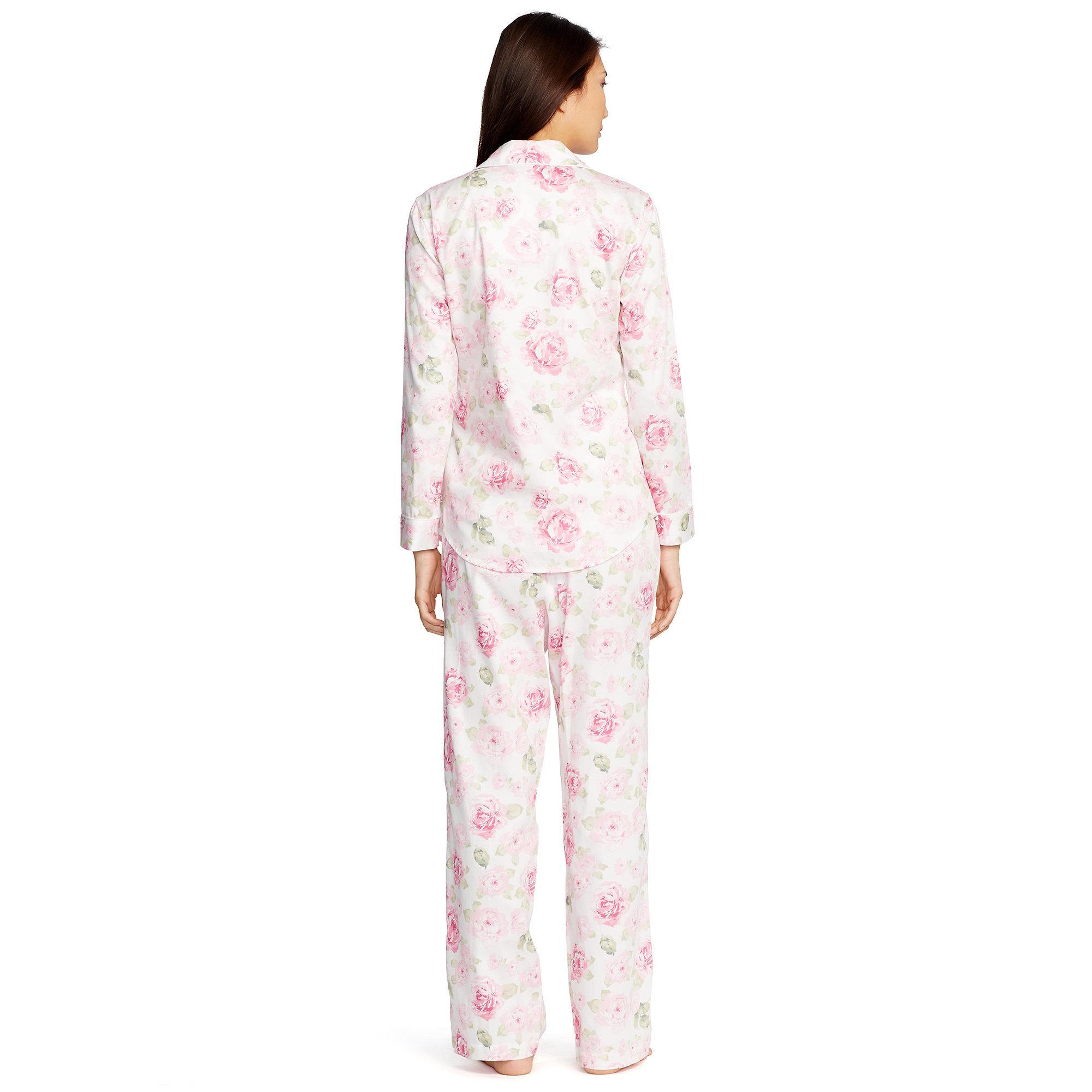 703abbe0b5 Lyst - Ralph Lauren Cotton Sateen Pajama Set in Pink