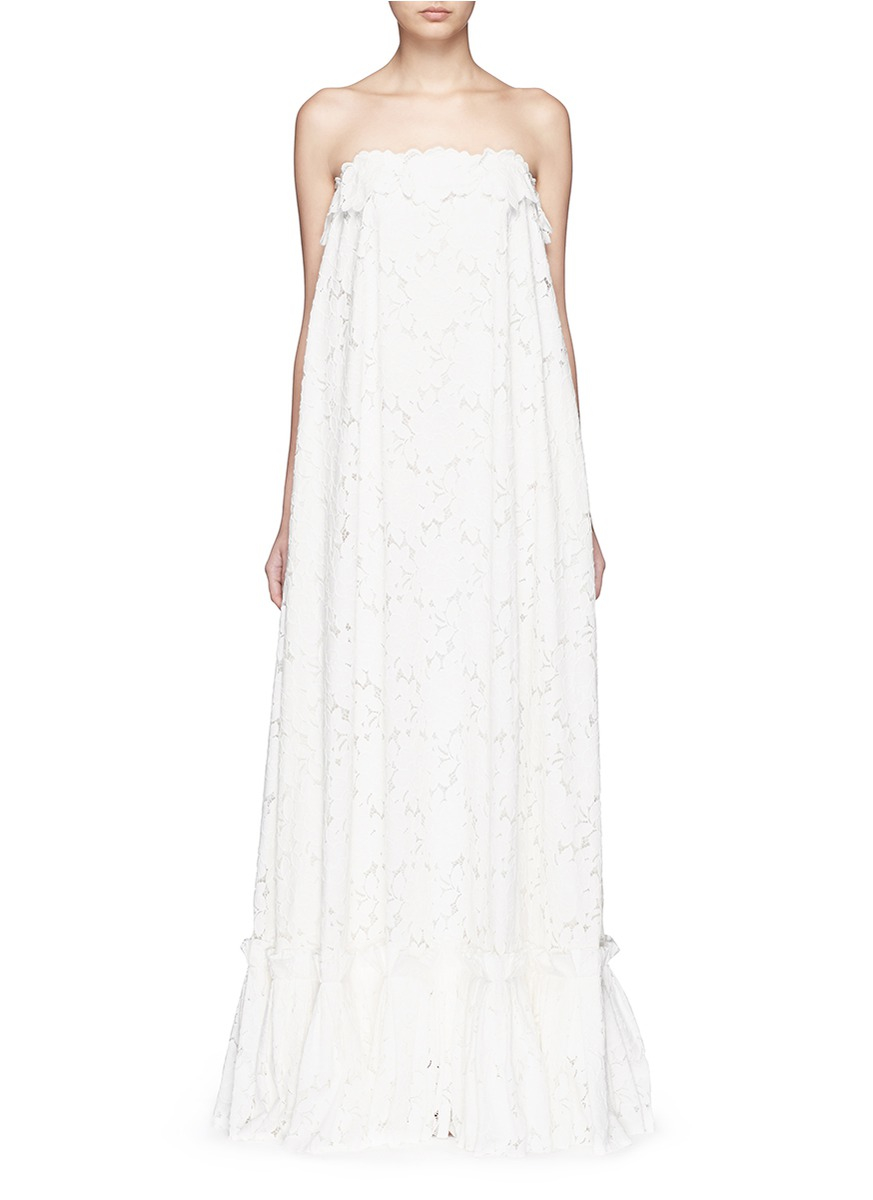 Lanvin Guipure Lace Strapless Tier Wedding Gown In White