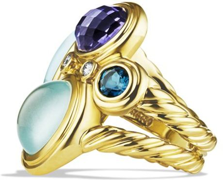 David Yurman Mosaic Ring With Blue Topaz Milky Aquamarine